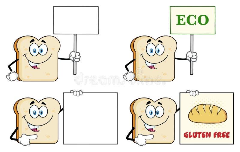 Carattere 4 della mascotte del fumetto del pane affettato bianco accumulazione royalty illustrazione gratis