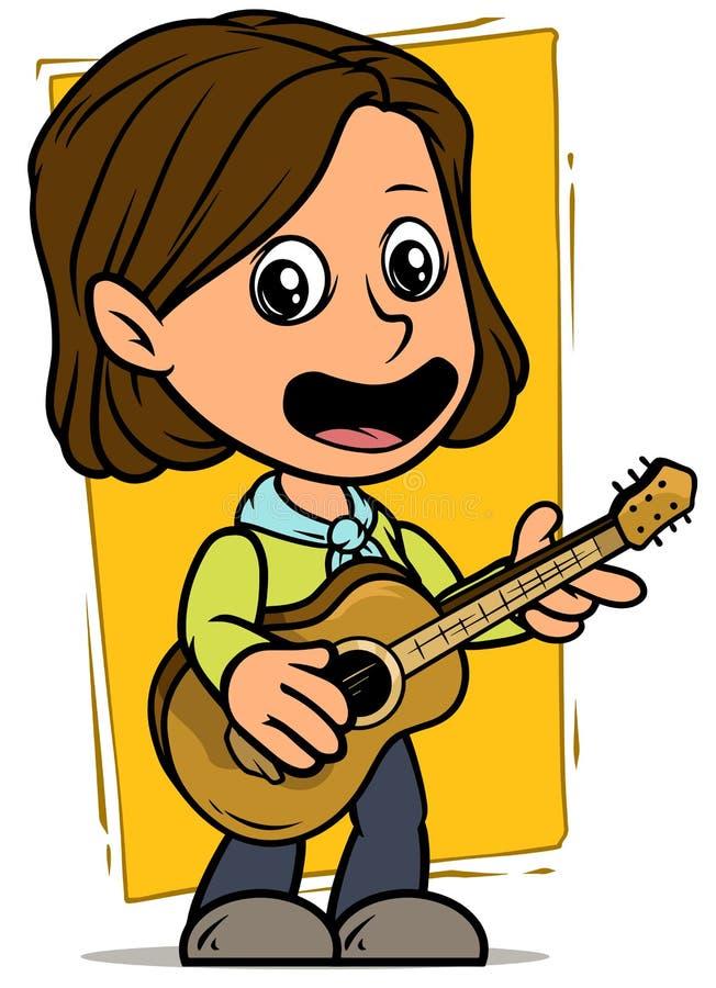 Carattere della ragazza del fumetto con la chitarra acustica di legno illustrazione vettoriale
