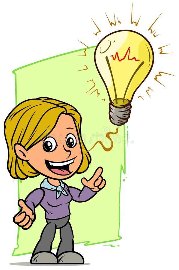 Carattere della ragazza del fumetto con la lampadina del fulmine di idea illustrazione di stock