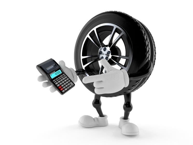 Carattere della ruota di automobile facendo uso del calcolatore royalty illustrazione gratis