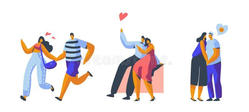 Carattere delle coppie di amore che data insieme L'abbraccio felice dell'amante, bacio, sedentesi sul banco di parco ha isolato F illustrazione vettoriale