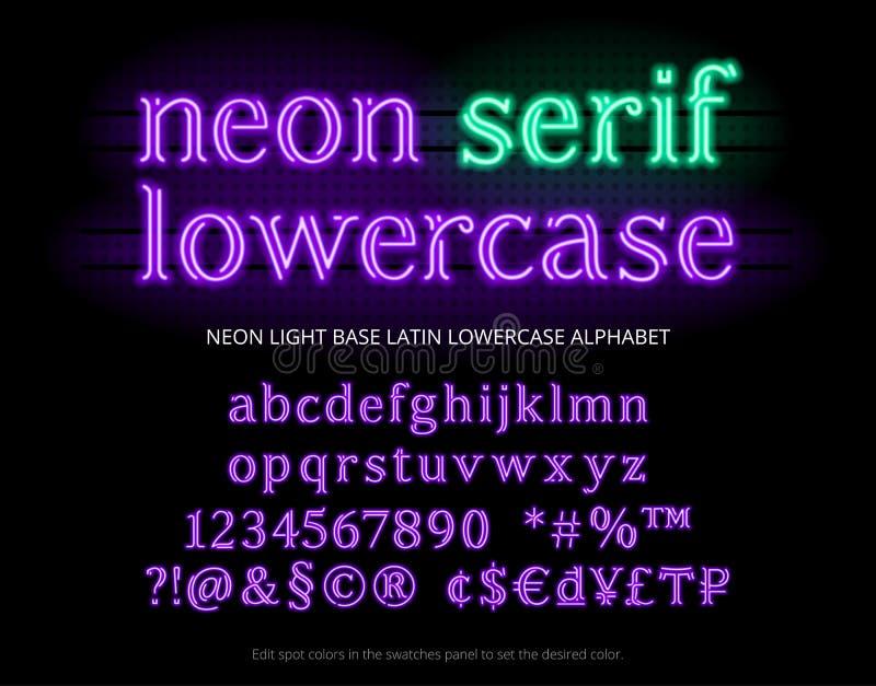 Carattere di alfabeto del tubo al neon Lettere al neon dei caratteri tipografici con grazie della luce di colore, numeri, simboli royalty illustrazione gratis