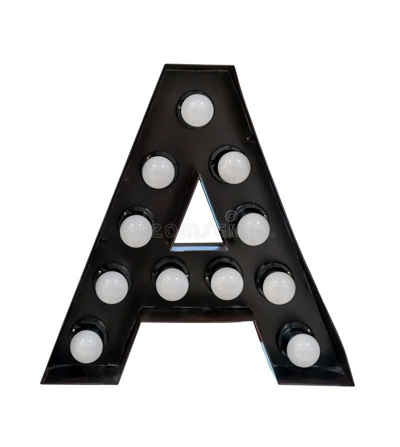 Carattere A di alfabeto della lettera nera della lampadina isolato su fondo bianco immagine stock