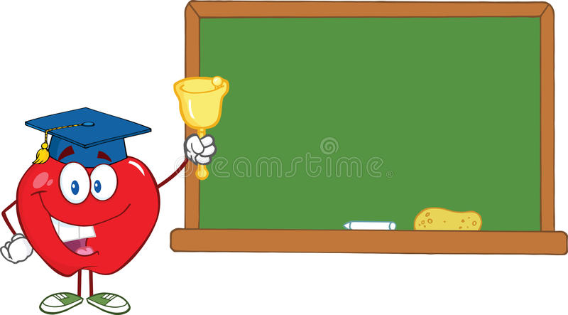 Carattere di Apple che suona una Bell per di nuovo alla scuola in Front Of Chalkboard illustrazione vettoriale