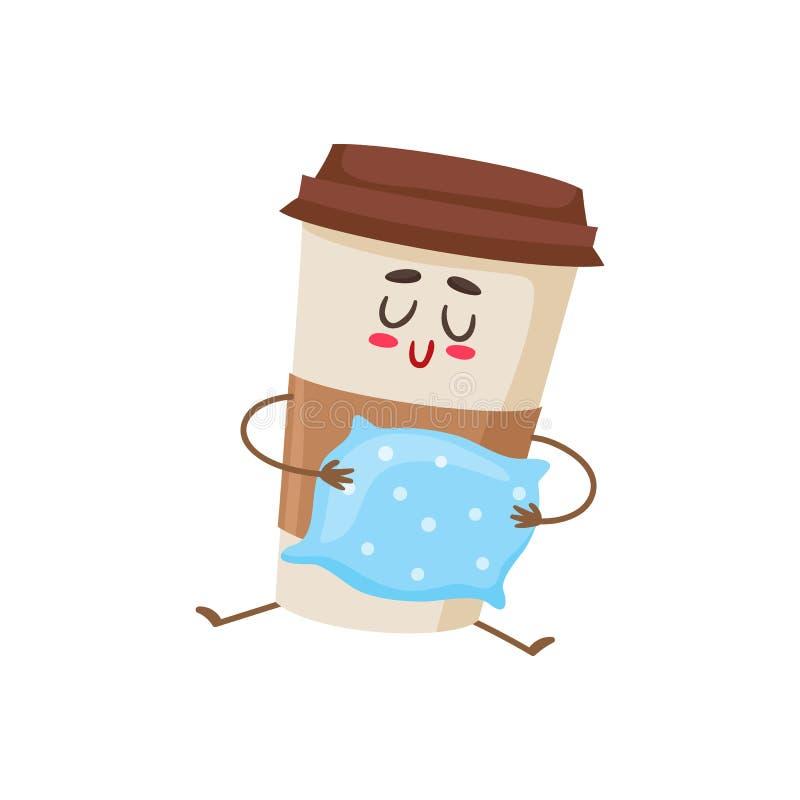 Carattere di carta sonnolento divertente della tazza di caffè con un cuscino illustrazione di stock