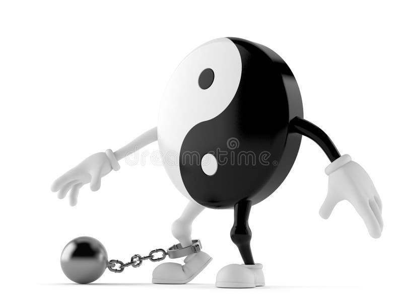 Carattere di Jing Jang con la palla della prigione illustrazione di stock