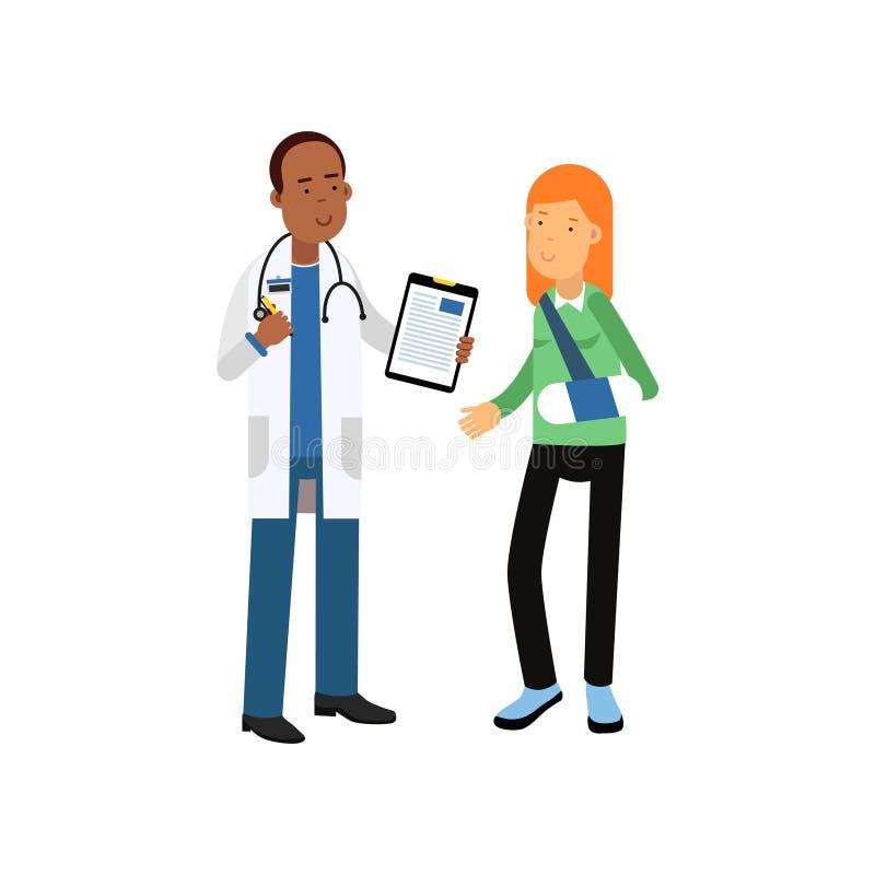 Carattere di medico maschio nero nel paziente medico bianco della donna e del cappotto con il braccio rotto in fasciature royalty illustrazione gratis