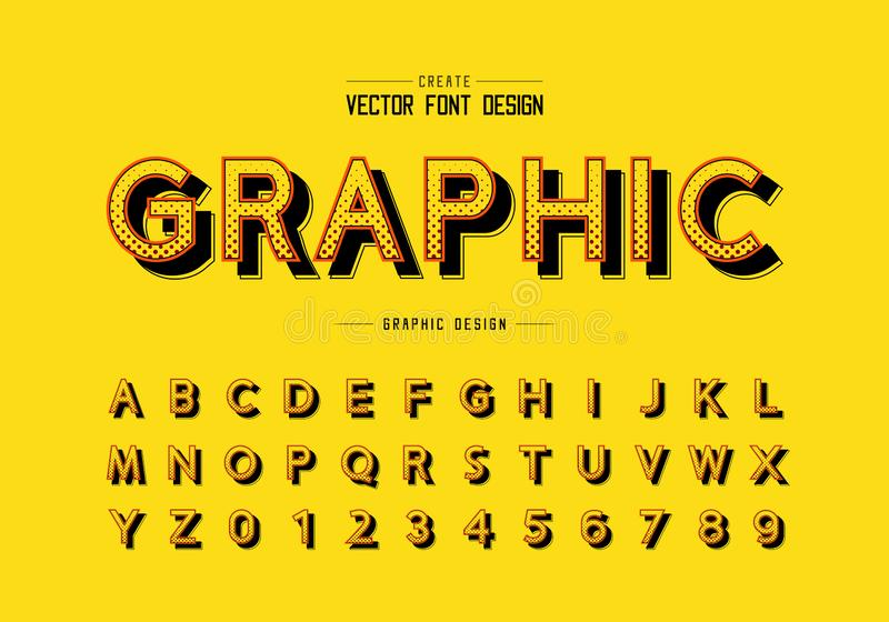 Carattere di mezzitone e vettore alfabetico, tipo di progettazione digitale e numero illustrazione di stock