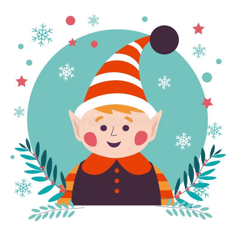 Carattere di Natale del bambino, assistente dell'elfo del Babbo Natale illustrazione di stock