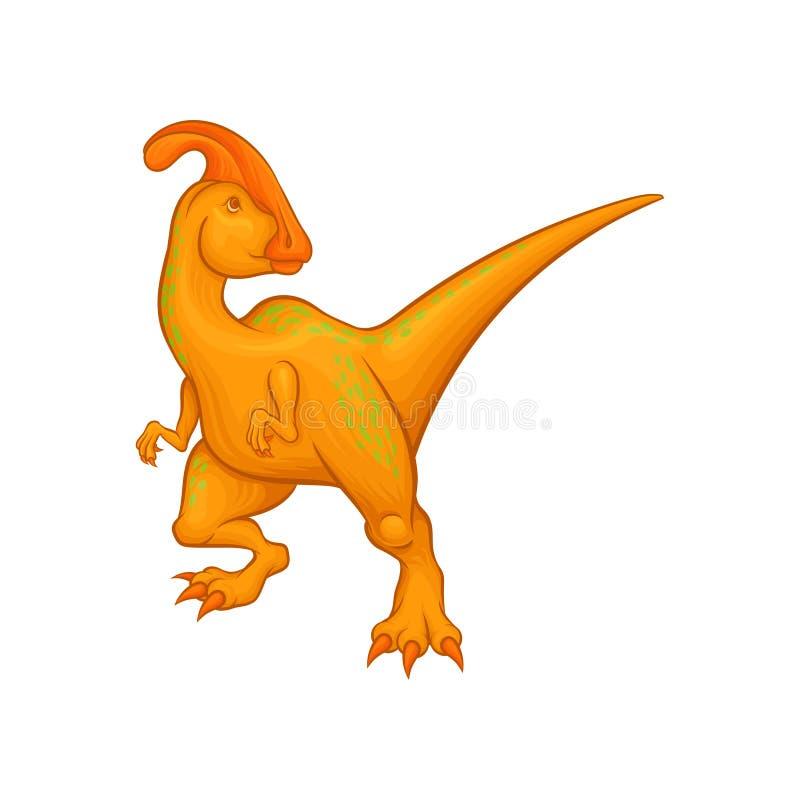 Carattere di parasaurolophus del fumetto Creatura fantastica con la coda lunga, cresta sulla testa, brevi arti posteriori anterio illustrazione di stock