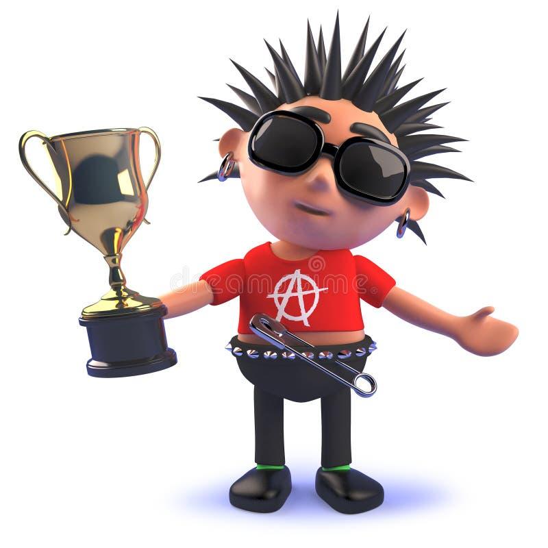carattere di punk rock del fumetto 3d che tiene un premio del trofeo della tazza dell'oro illustrazione vettoriale