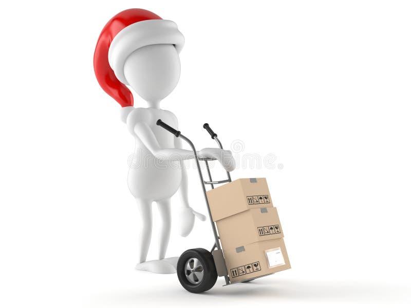 Carattere di Santa con il carrello a mano illustrazione vettoriale