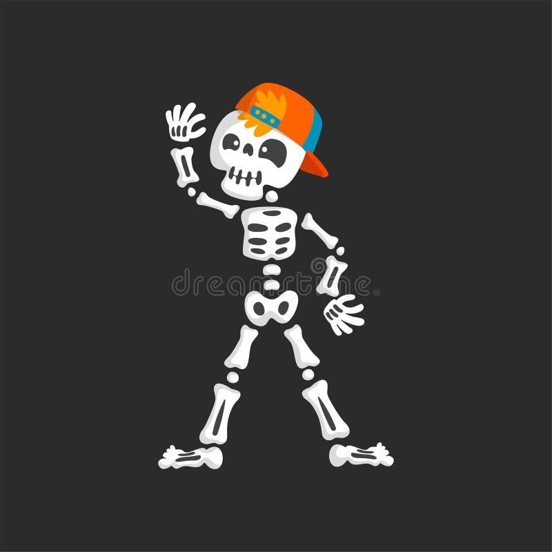 Carattere di scheletro terrificante nell'illustrazione di vettore di dancing del berretto da baseball illustrazione di stock