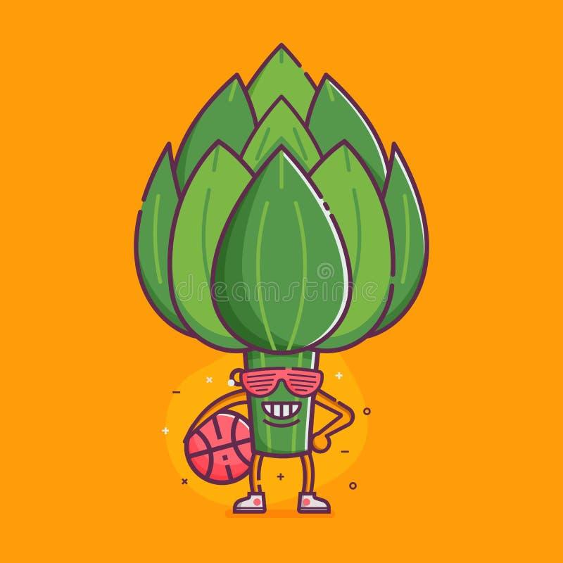 Carattere di verdure divertente del carciofo illustrazione di stock