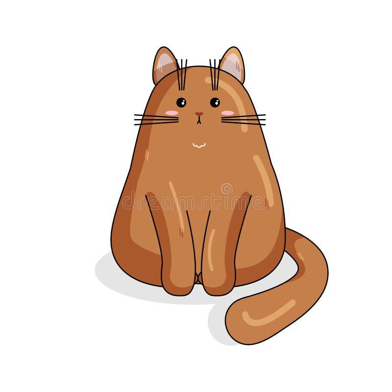 Carattere di vettore del gatto persiano nello stile di Kawaii royalty illustrazione gratis