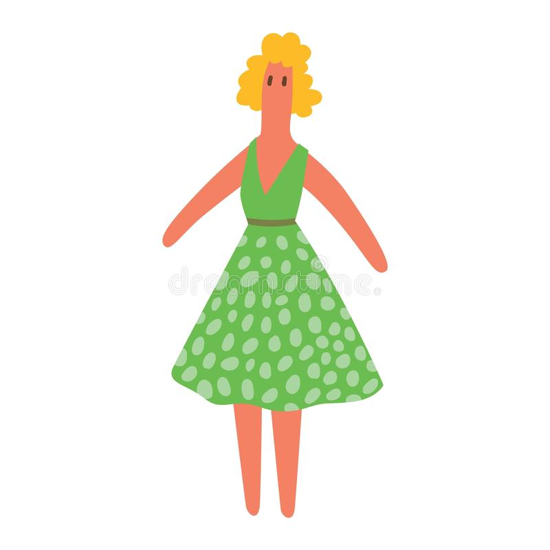 Carattere di vettore del giocattolo della ragazza della bambola illustrazione di stock