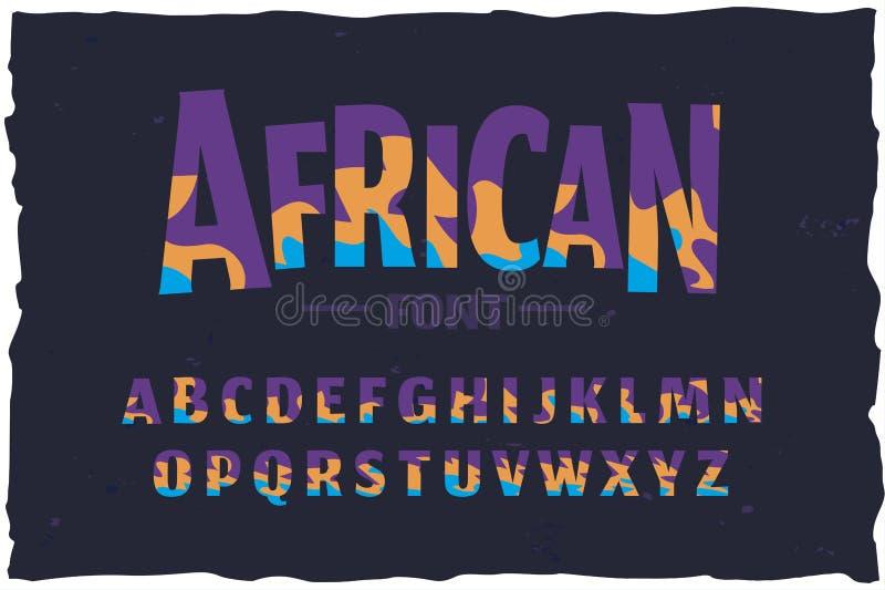 Carattere di vettore Fonte africana divertente di stile illustrazione vettoriale
