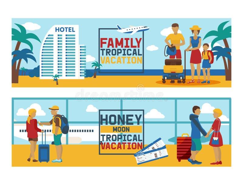 Carattere di viaggio della donna dell'uomo del viaggiatore della gente di vettore di vacanza sullo stile di vita di viaggio della illustrazione vettoriale