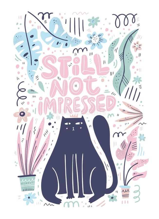 Carattere disegnato a mano piano del gatto royalty illustrazione gratis