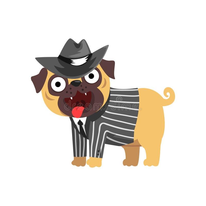 Carattere divertente del cane del carlino vestito come il signore, cane divertente nell'illustrazione black hat ed a strisce di v illustrazione di stock