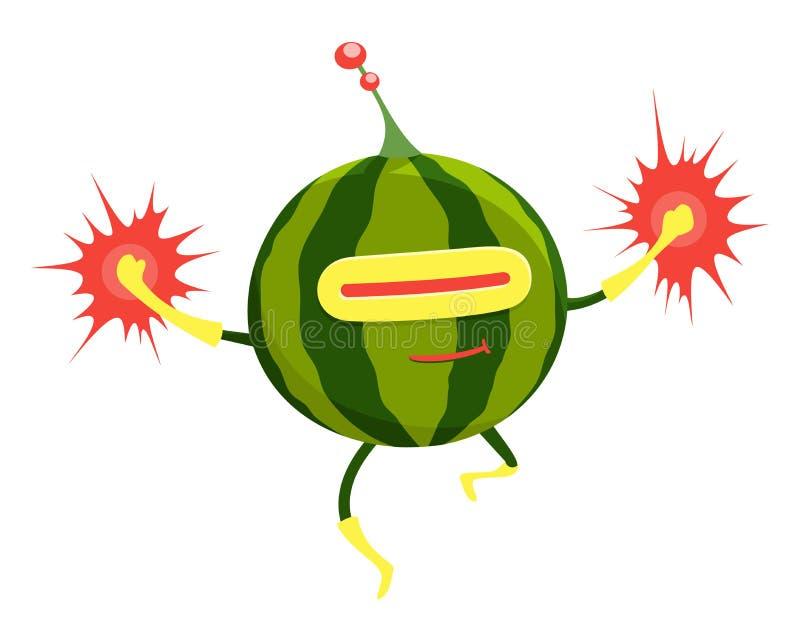 Carattere divertente dell'anguria del supereroe del fumetto, autoadesivo umanizzato della frutta o manifesto Eroe di volo Vegano  illustrazione vettoriale