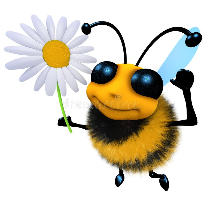 carattere divertente dell'ape del miele del fumetto 3d che tiene un fiore della margherita royalty illustrazione gratis