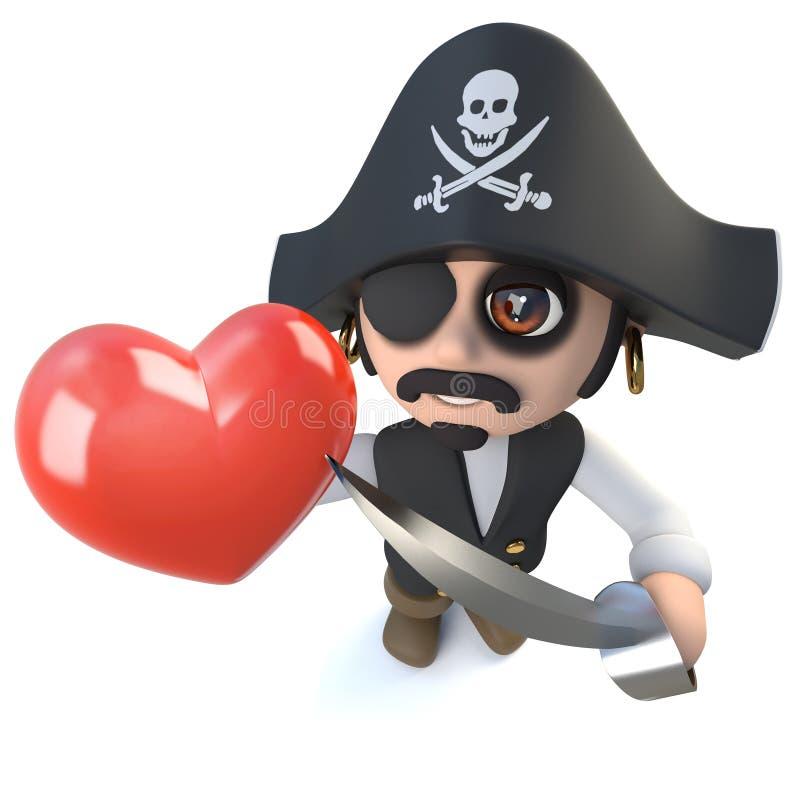 carattere divertente di capitano del pirata del fumetto 3d che tiene un cuore rosso romantico al giorno di biglietti di S. Valent illustrazione vettoriale