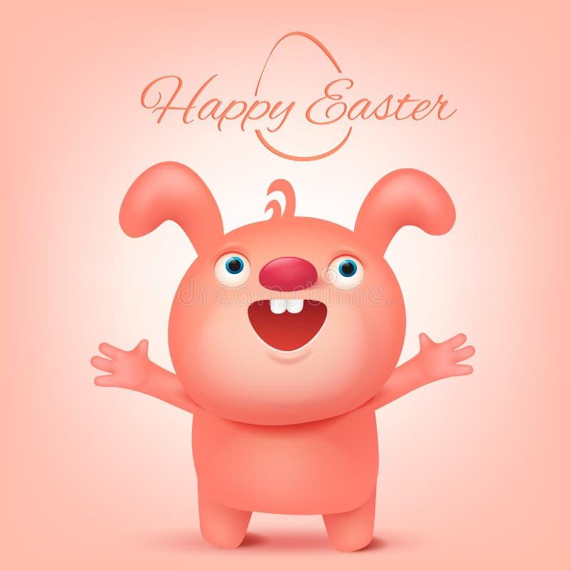 Carattere divertente rosa del coniglio Carta felice dell'invito di Pasqua royalty illustrazione gratis
