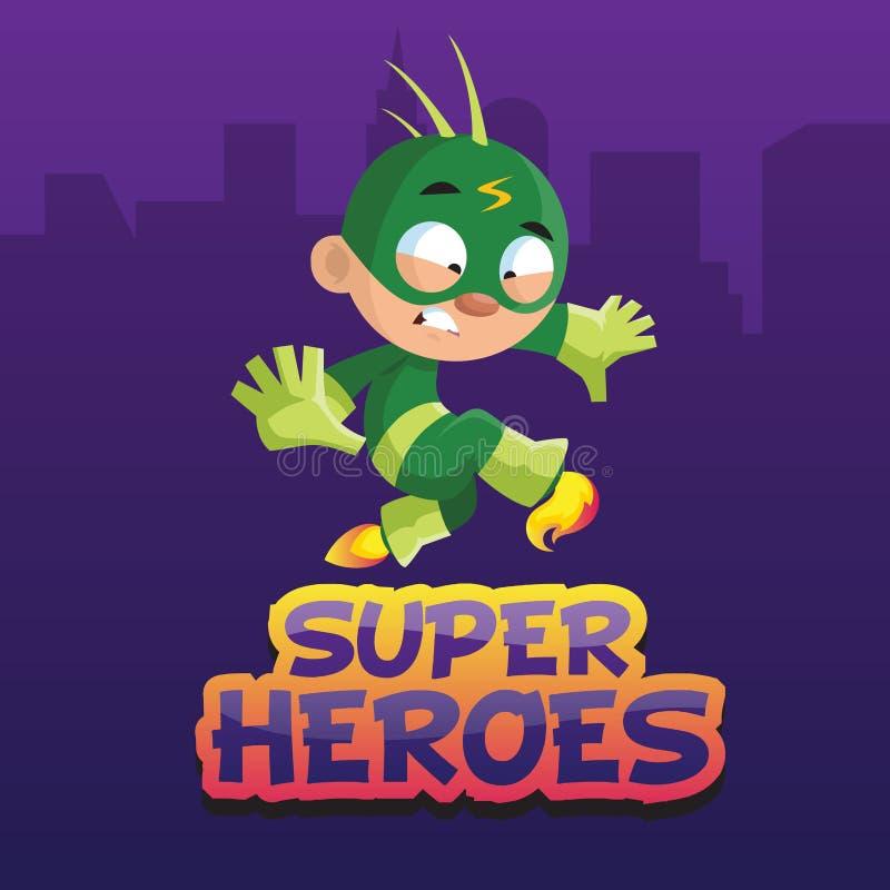 Carattere divertente sveglio del ragazzo in un'illustrazione verde di vettore del fumetto del costume del supereroe illustrazione di stock