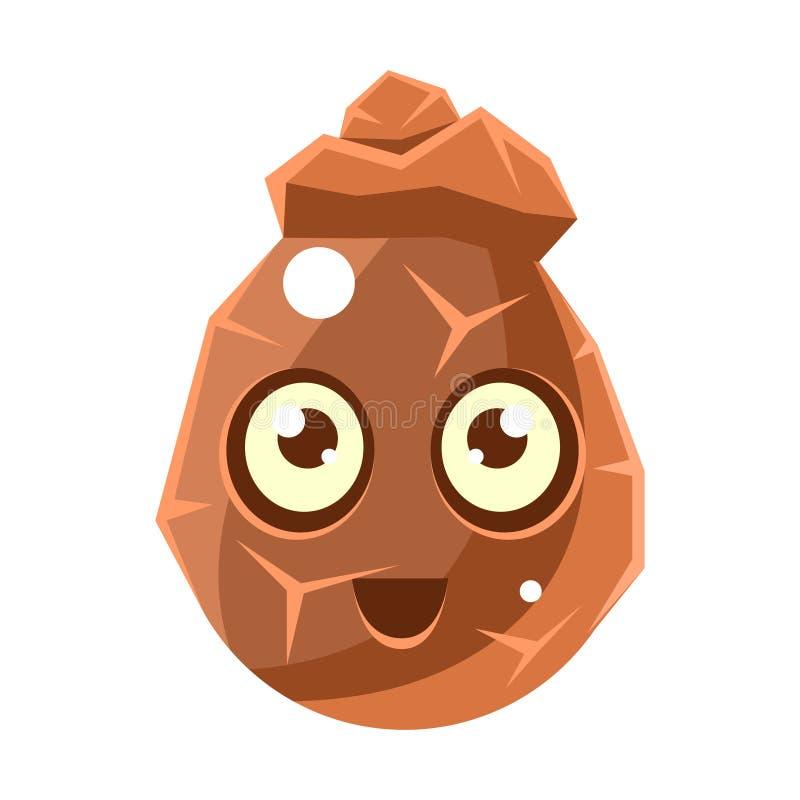 Carattere fantastico sveglio ovale dell'elemento incrinato della roccia di Brown con la grande icona di Emoji di vettore degli oc illustrazione di stock