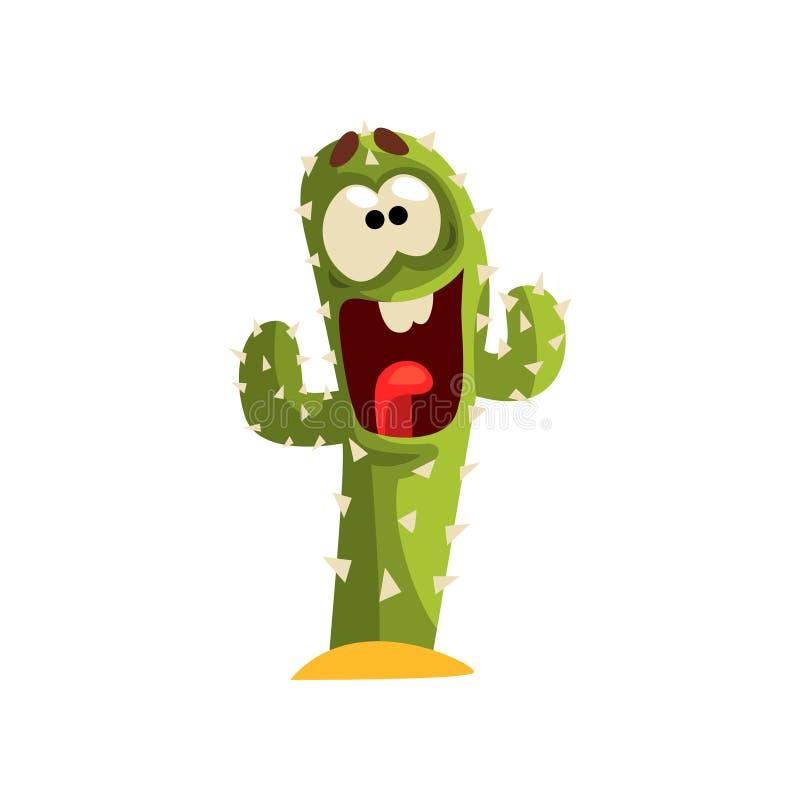 Carattere felice che ride, pianta succulente del cactus con l'illustrazione divertente di vettore del fronte su un fondo bianco royalty illustrazione gratis