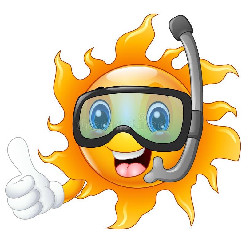 Carattere felice del sole del fumetto nella maschera di immersione subacquea che dà i pollici su illustrazione di stock