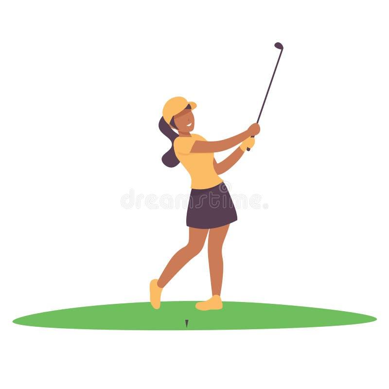 Carattere felice della donna che maneggia il gioco di golf illustrazione vettoriale