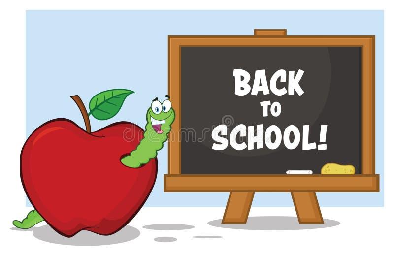 Carattere felice della mascotte del fumetto del verme in Apple rosso con A di nuovo al bordo di gesso della scuola royalty illustrazione gratis