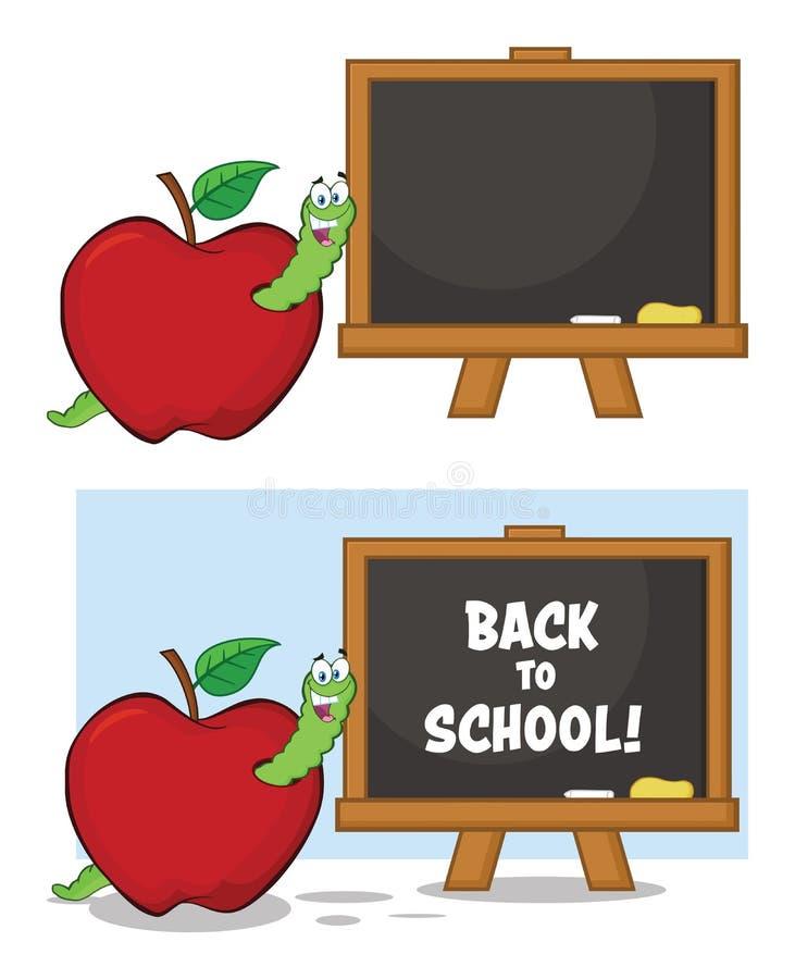 Carattere felice della mascotte del fumetto del verme in Apple rosso con A di nuovo al bordo di gesso della scuola accumulazione royalty illustrazione gratis