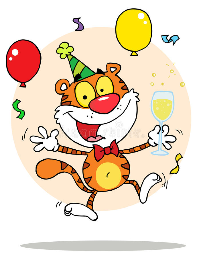 Carattere felice della tigre del partito con pieno di bolle illustrazione vettoriale