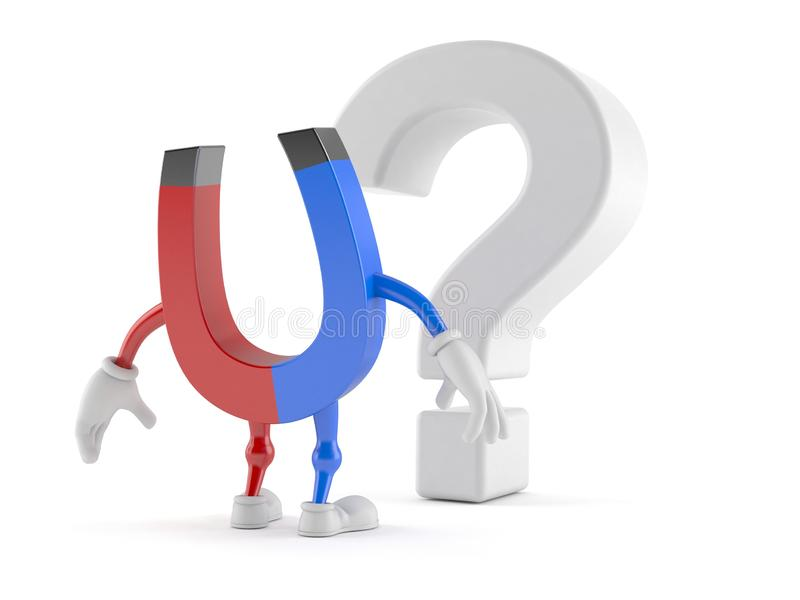 Carattere a ferro di cavallo del magnete che esamina simbolo del punto interrogativo illustrazione di stock