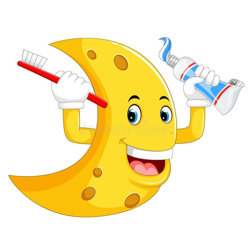 Carattere giallo della luna che tiene lo spazzolino da denti ed il dentifricio in pasta royalty illustrazione gratis