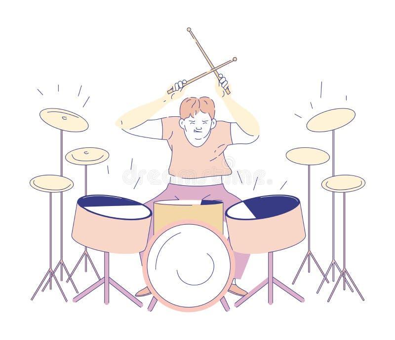 Carattere isolato del musicista di banda rock del giocatore del tamburo royalty illustrazione gratis