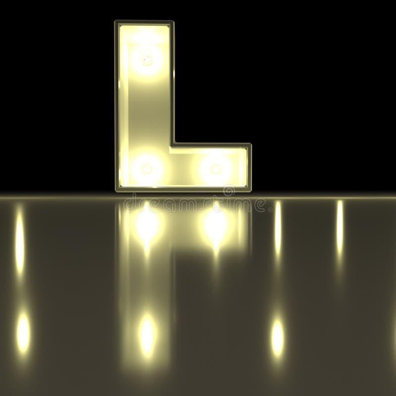 Carattere L fonte con la riflessione Alph d'ardore della lettera della lampadina royalty illustrazione gratis