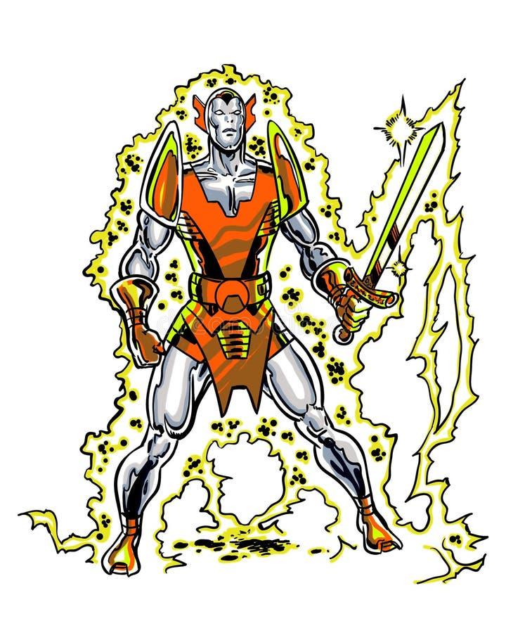 Carattere Llongorion del libro di fumetti con una spada ardente illustrazione di stock
