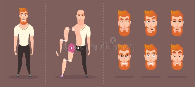 Carattere luminoso dei pantaloni a vita bassa metta degli elementi per l'animazione illustrazione di stock
