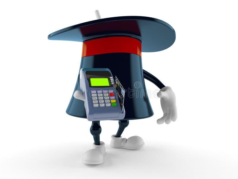 Carattere magico del cappello che tiene il lettore della carta di credito illustrazione vettoriale