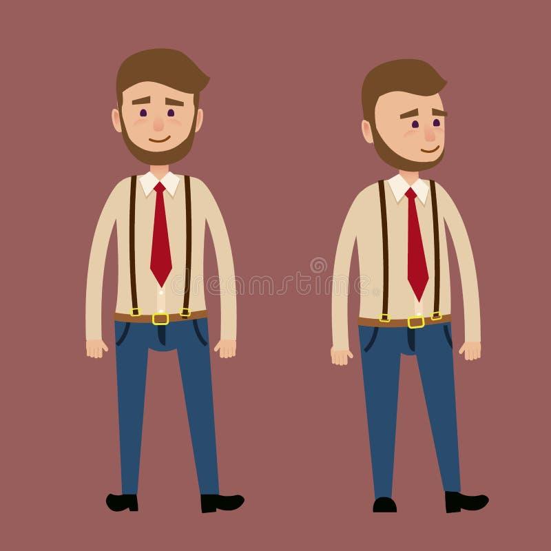 Carattere maschio barbuto nell'illustrazione rossa del legame illustrazione di stock