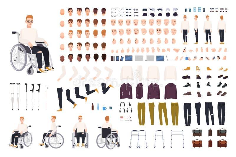 Carattere maschio con l'inabilità fisica che si siede nell'insieme o nel costruttore della creazione della sedia a rotelle Insiem illustrazione di stock