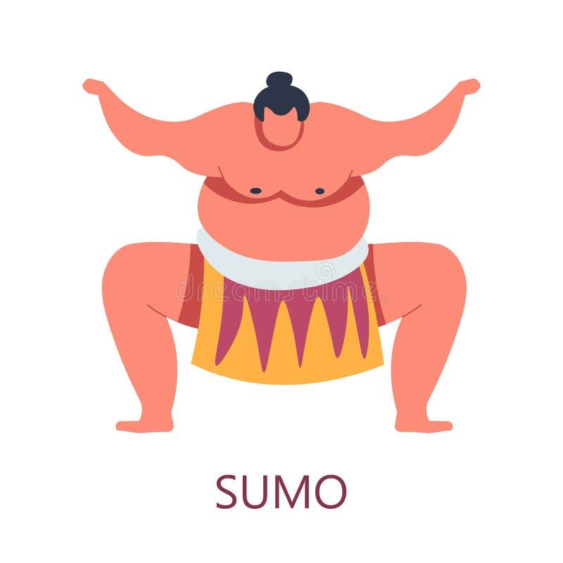 Carattere maschio isolato combattimento giapponese combattente di sumo di arte illustrazione di stock