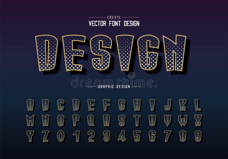 Carattere a mezzitoni e vettore alfabetico, lettera tipografica digitale alta e numero illustrazione vettoriale