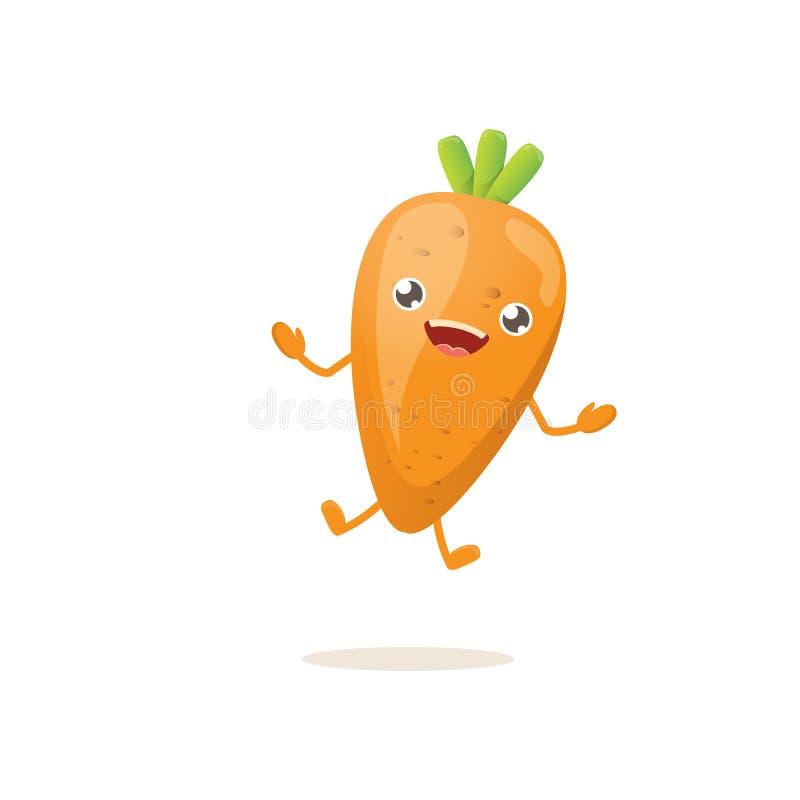 Carattere minuscolo felice della carota di bambino del fumetto isolato su fondo bianco Concetto sano dell'etichetta dell'alimento illustrazione vettoriale
