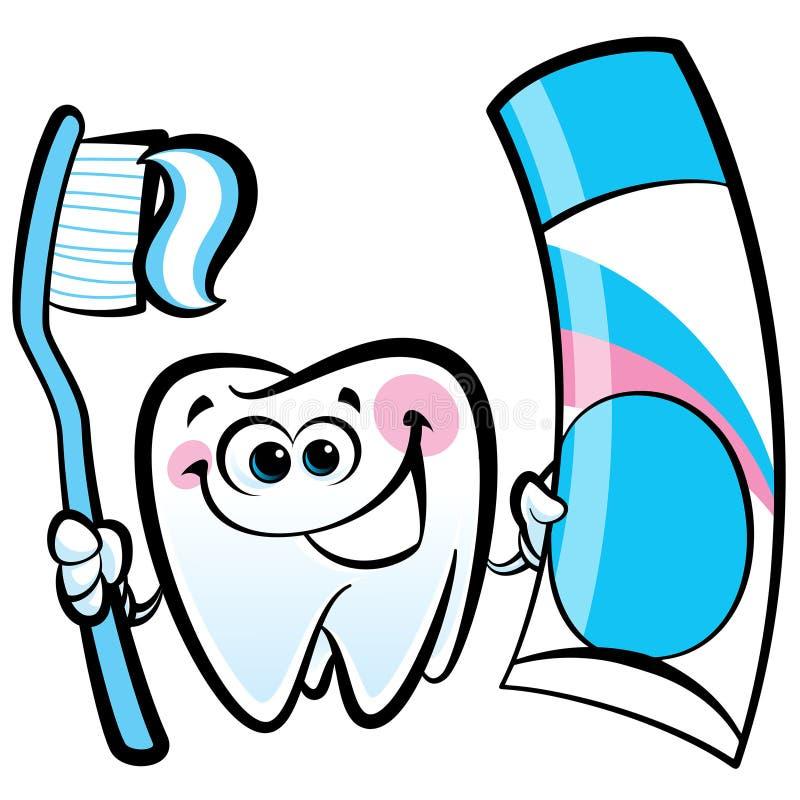Carattere molare del dente del fumetto felice che tiene spazzolino da denti dentario royalty illustrazione gratis