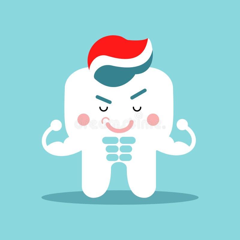 Carattere muscolare del dente del fumetto sveglio con dentifricio in pasta, illustrazione dentaria di vettore per i bambini royalty illustrazione gratis